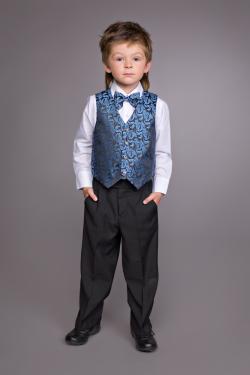Комплект для мальчика рубашка+брюки + жилетка+ бабочка черный с синим арт.К/БS 200-2