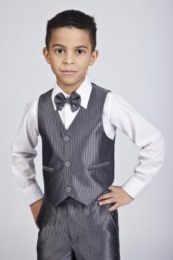 Комплект для мальчика рубашка+брюки + жилетка+ бабочка т.серый арт.К/БS 45