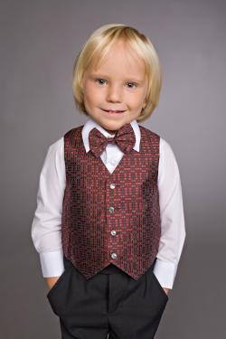 Комплект для мальчика рубашка+брюки + жилетка+ бабочка черный с бордо арт.898-2